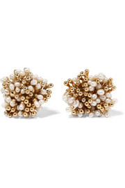 Pioggia gold-tone pearl clip earrings