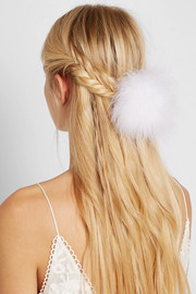 Bianca feather and pearl hair tie