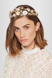 Vanusita gold-tone mother-of-pearl headpiece