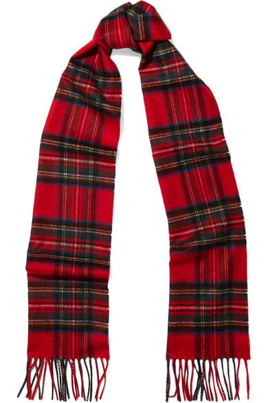 Johnstons of Elgin - Fringed Tartan Cashmere Scarf - Red