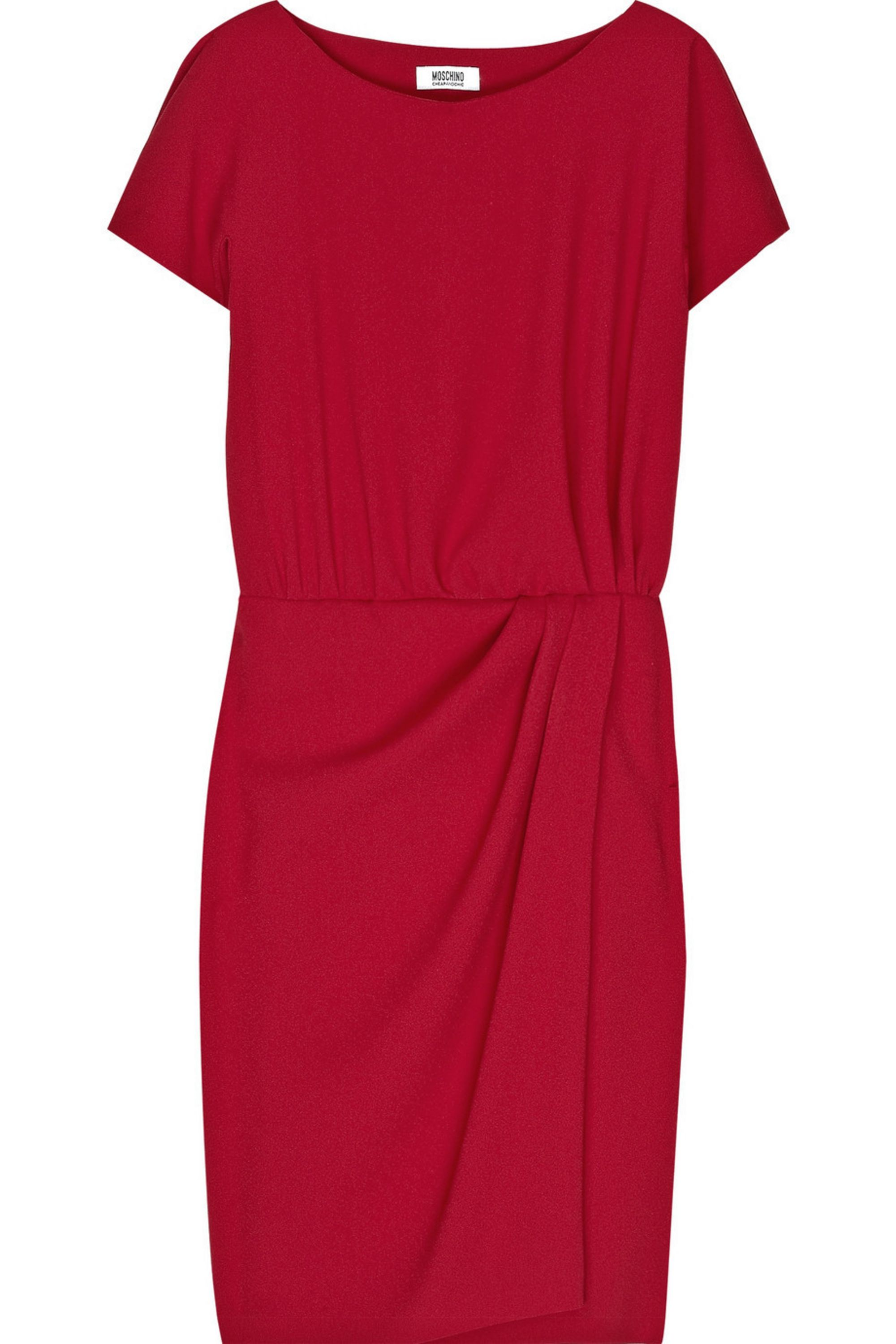 Tomato Red Pleat Front Crepe Dress Boutique Moschino Net A Porter