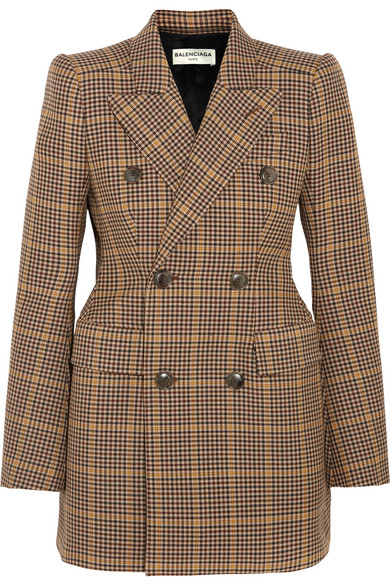 Balenciaga - Hourglass Double-breasted Checked Wool Blazer - Brown