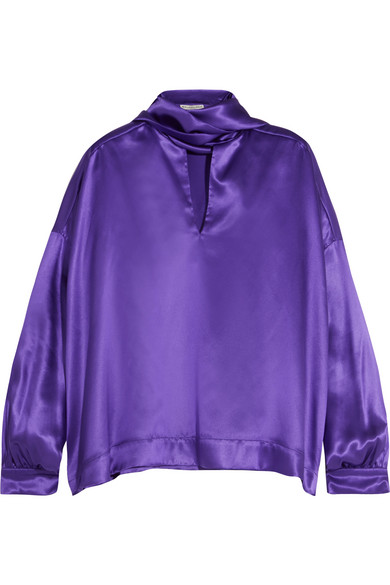 Balenciaga - Pussy-bow Silk-satin Blouse - Purple