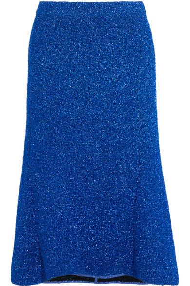 Balenciaga - Asymmetric Metallic Knitted Skirt - Cobalt blue