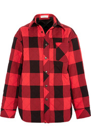 Oversized quilted checked canvas shirt