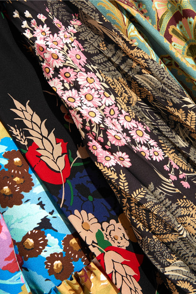 BALENCIAGA Silks Projector asymmetric printed crepe de chine and silk dress