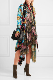 Projector asymmetric printed crepe de chine and silk dress