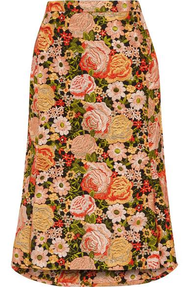 Balenciaga - Pleated Embroidered Silk Skirt - Peach