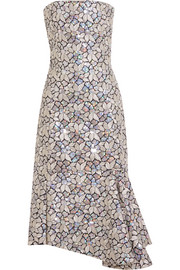 Balenciaga Embellished embroidered cotton-canvas dress