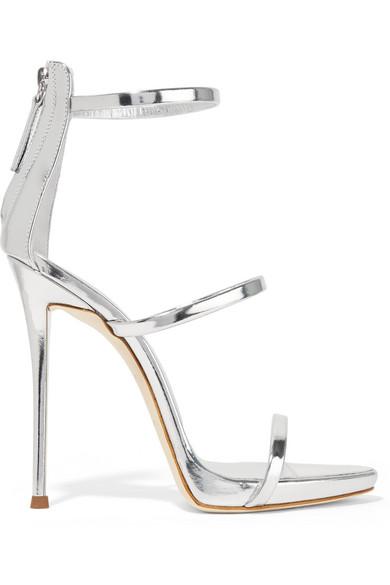 giuseppe zanotti female 45900 giuseppe zanotti harmony metallic leather sandals silver