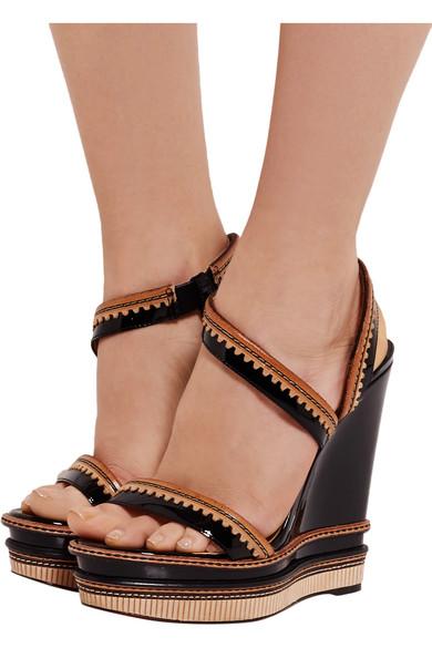 6edcd525996 Trepi patent-leather wedge sandals
