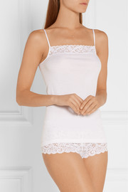 Moments lace-trimmed mercerized cotton camisole