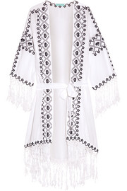Nic embroidered voile robe