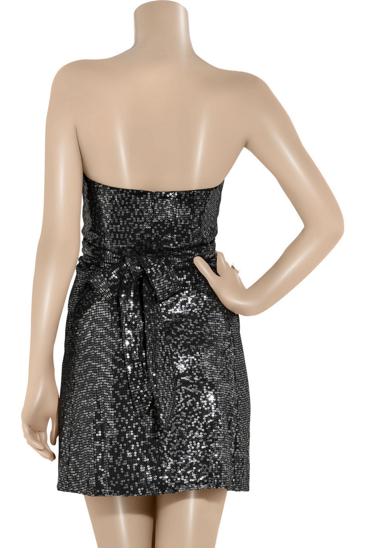 Issa Strapless sequined silk dress