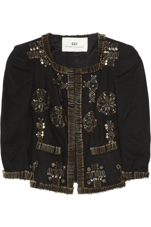 DAY Birger et Mikkelsen Safety pin embellished wool jacket
