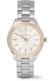 Slim Runway mini silver and rose gold-plated watch