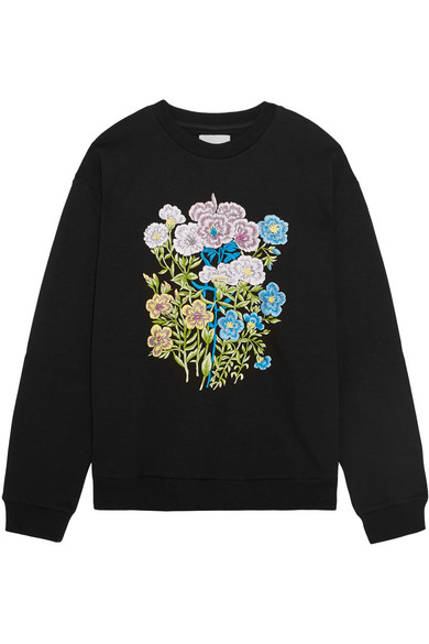 Christopher Kane. Floral embroidered cotton-jersey sweatshirt