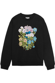 Floral embroidered cotton-jersey sweatshirt
