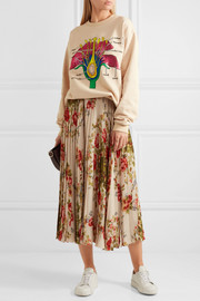 Botanical embroidered cotton-jersey sweatshirt