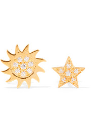 Sun and Star gold-plated topaz earrings