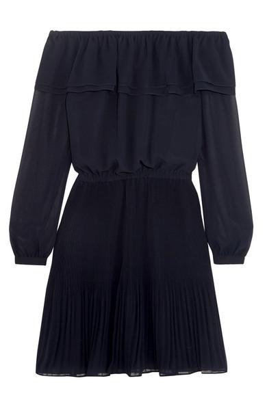 MICHAEL Michael Kors - Off-the-shoulder Ruffled Chiffon Mini Dress - Navy