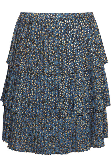 MICHAEL Michael Kors - Tiered Metallic Printed Georgette Skirt - Blue