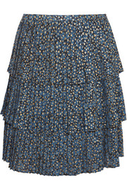 MICHAEL Michael Kors Tiered metallic printed georgette skirt