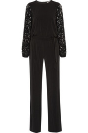 Guipure lace-paneled stretch-jersey jumpsuit