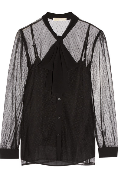 MICHAEL Michael Kors - Pussy-bow Crepe-trimmed Tulle Blouse - Black