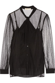MICHAEL Michael Kors Pussy-bow crepe-trimmed tulle blouse