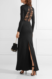 Rosamund lace-paneled stretch-jersey gown
