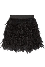 Cina feather-embellished tulle mini skirt