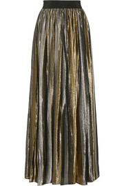 Tabetha pleated silk-blend lamé maxi skirt