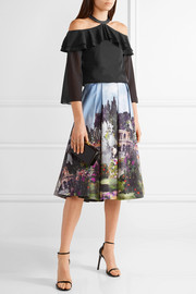 Audrey printed cotton-blend midi skirt