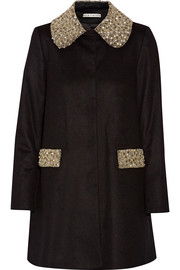 Iris embellished wool and cashmere-blend coat