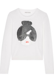 Alice + Olivia Stace Face sequin-embellished stretch-wool sweater
