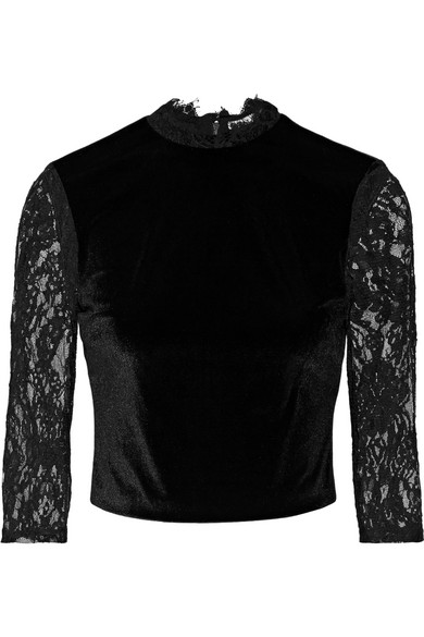 Alice + Olivia - Jenny Cropped Lace-paneled Velvet Top - Black