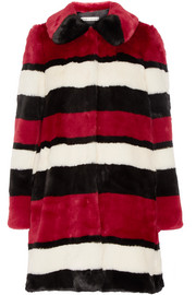 Kinsley oversized striped faux fur coat