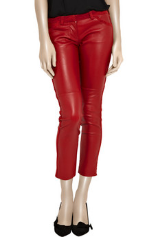 Isabel Marant Leather skinny cropped pants