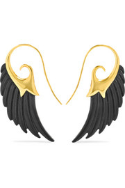 Wing 18-karat gold ebony earrings