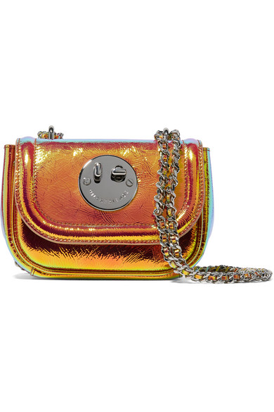Hill & Friends - Happy Tweency Holographic Textured-leather Shoulder Bag - Orange