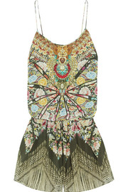 Flamenco Sweep embellished printed washed-silk playsuit