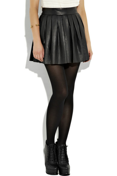 Alice   Olivia | Pleated leather skirt | NET-A-PORTER.COM