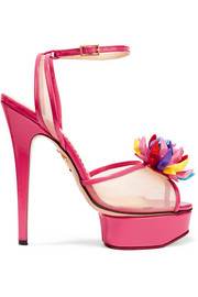 + Barbie® Pomeline patent-leather and mesh sandals