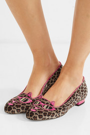 Charlotte Olympia + Barbie® Kitty embroidered leopard-print velvet slippers