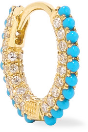 18-karat gold, diamond and turquoise earring