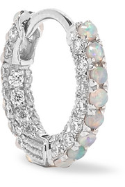 18-karat white gold, diamond and opal earring