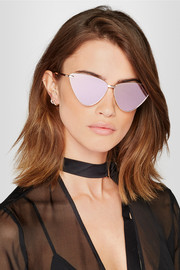 Nero cat-eye rose gold-plated and acetate sunglasses