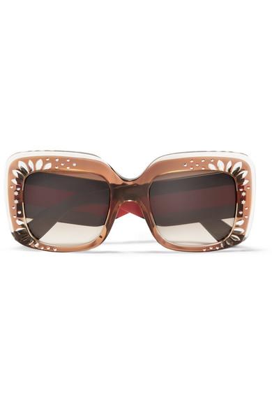 Gucci - Square-frame Crystal-embellished Acetate Sunglasses - Tortoiseshell