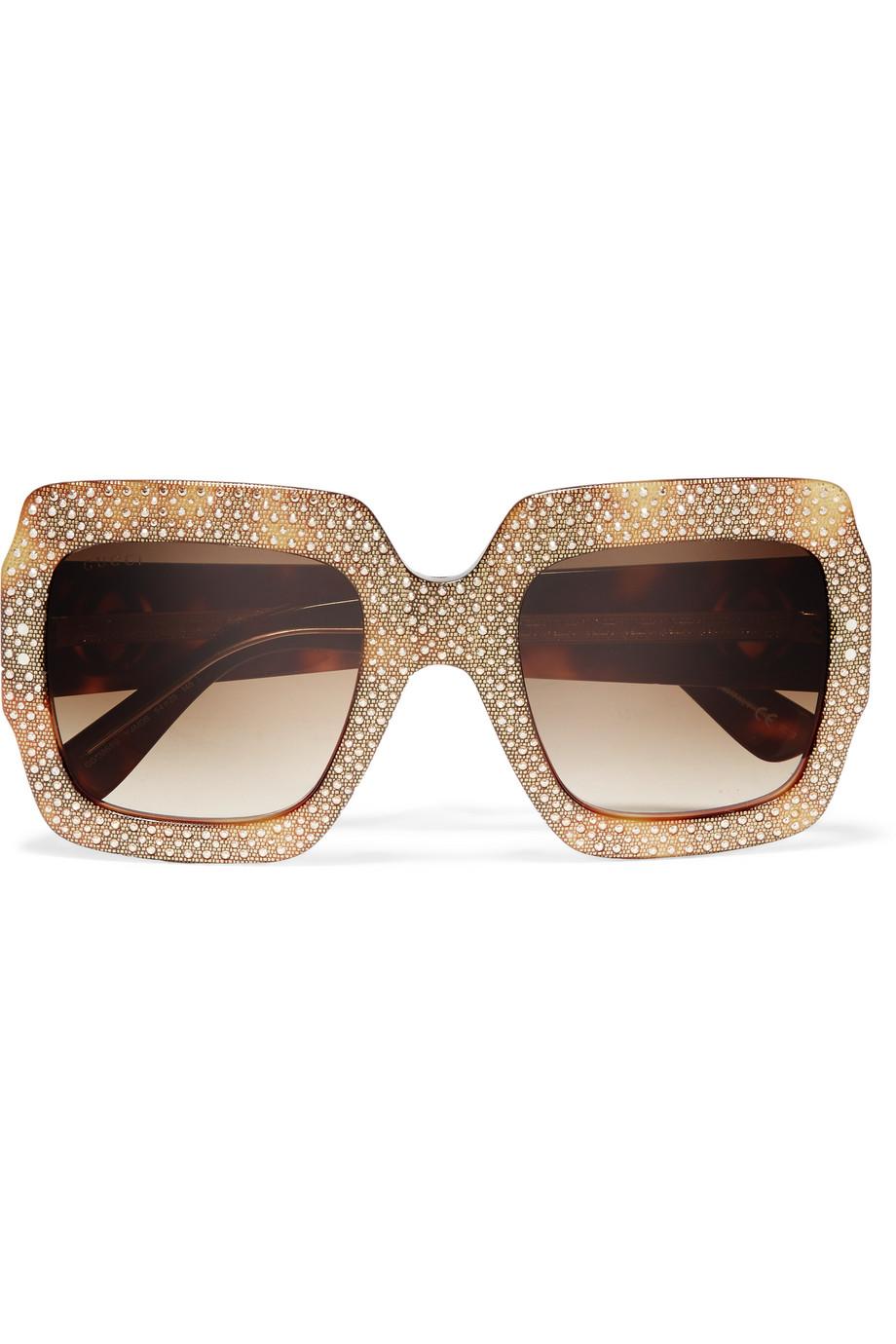 Gucci Square-Frame Crystal-Embellished Acetate Sunglasses, Tortoiseshell/Beige, Women's